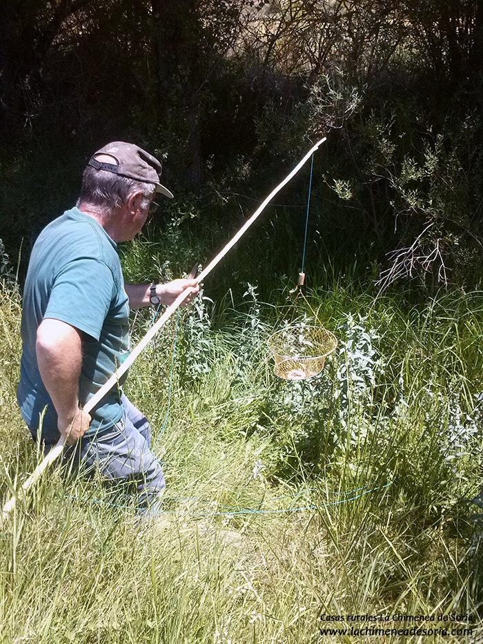 Hombre pescando cangrejos de río