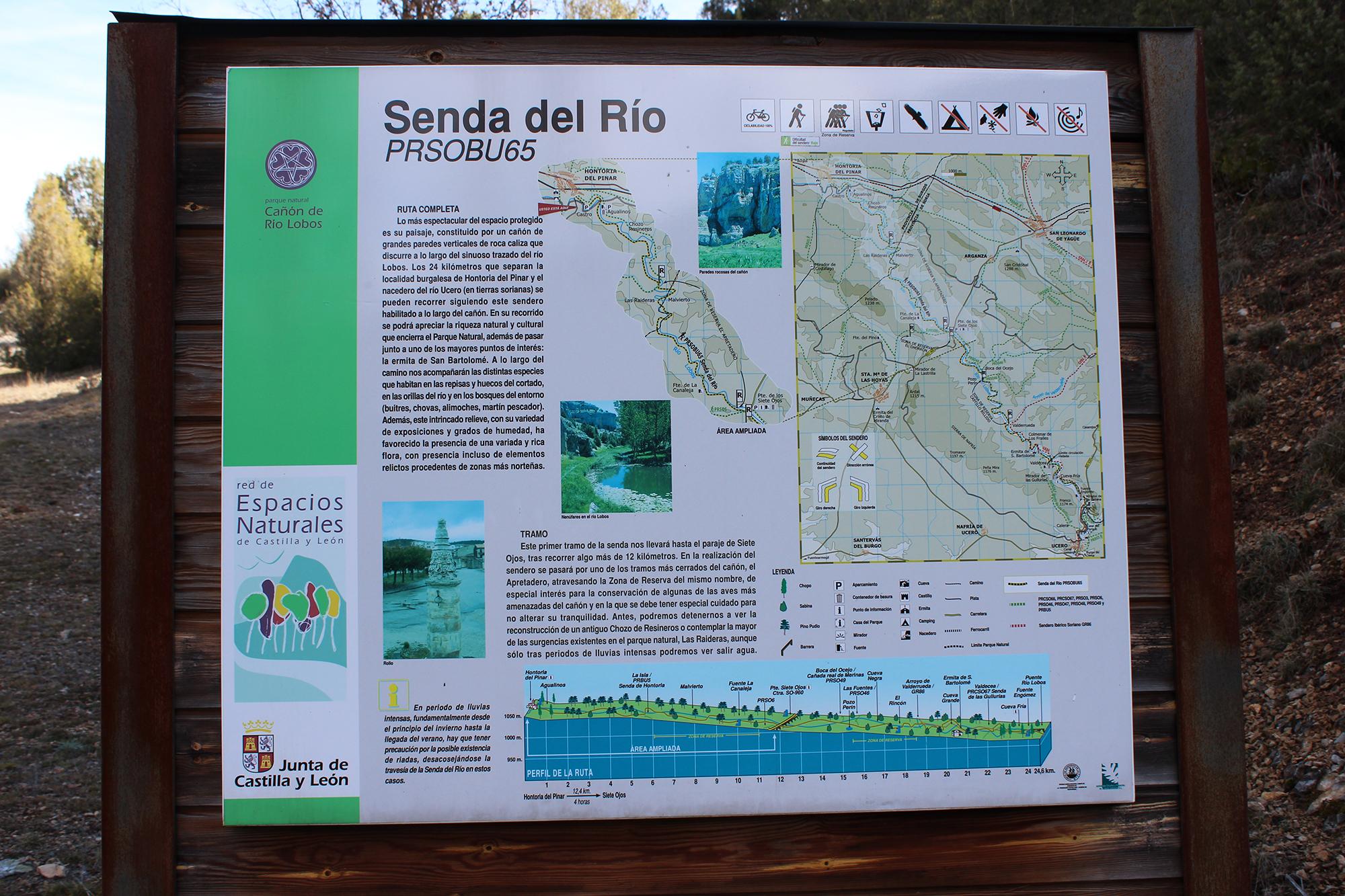 senda del rio cañon del rio lobos cartel informacion ruta