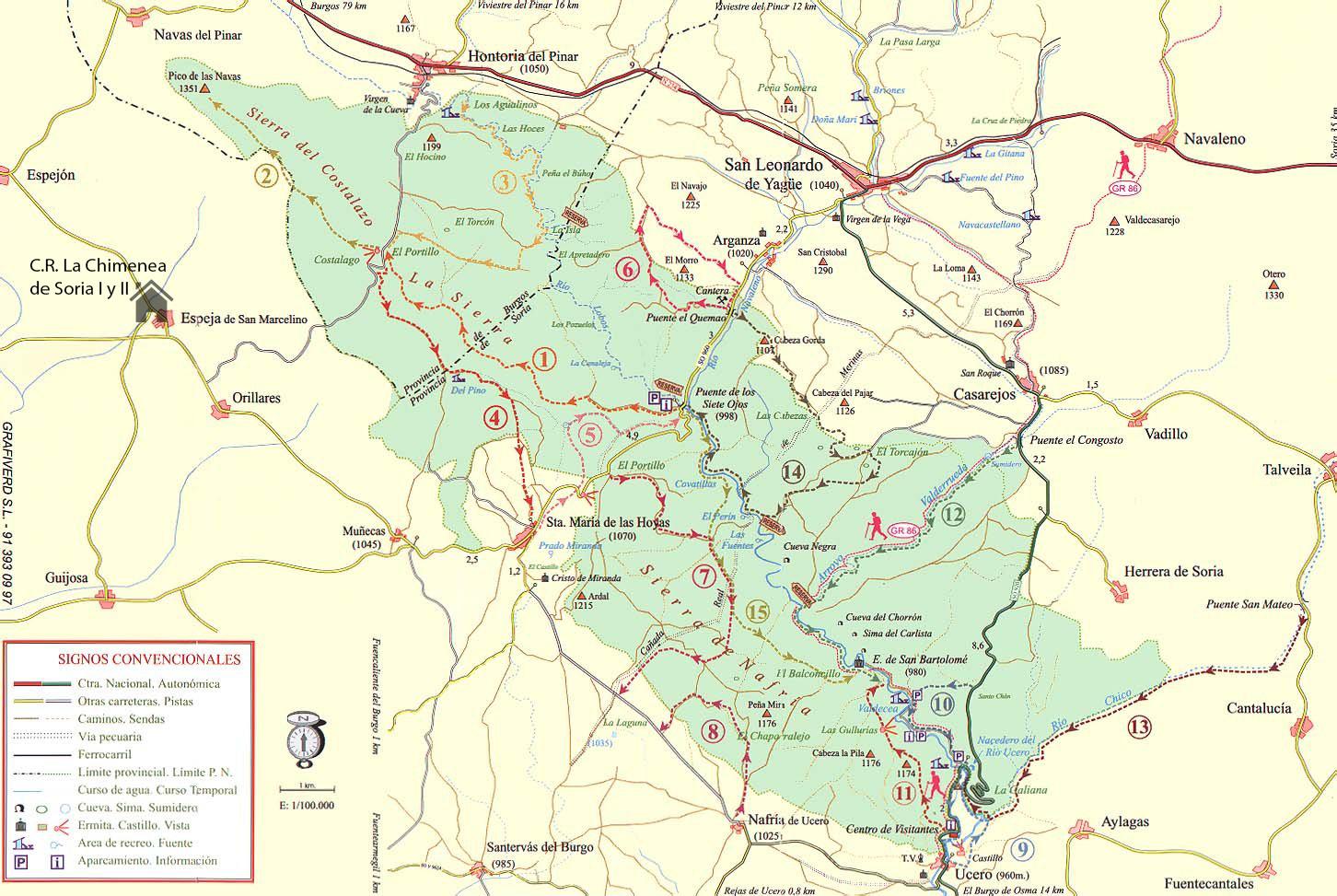 Mapa sendas Cañón del Río Lobos rutas senderismo soria