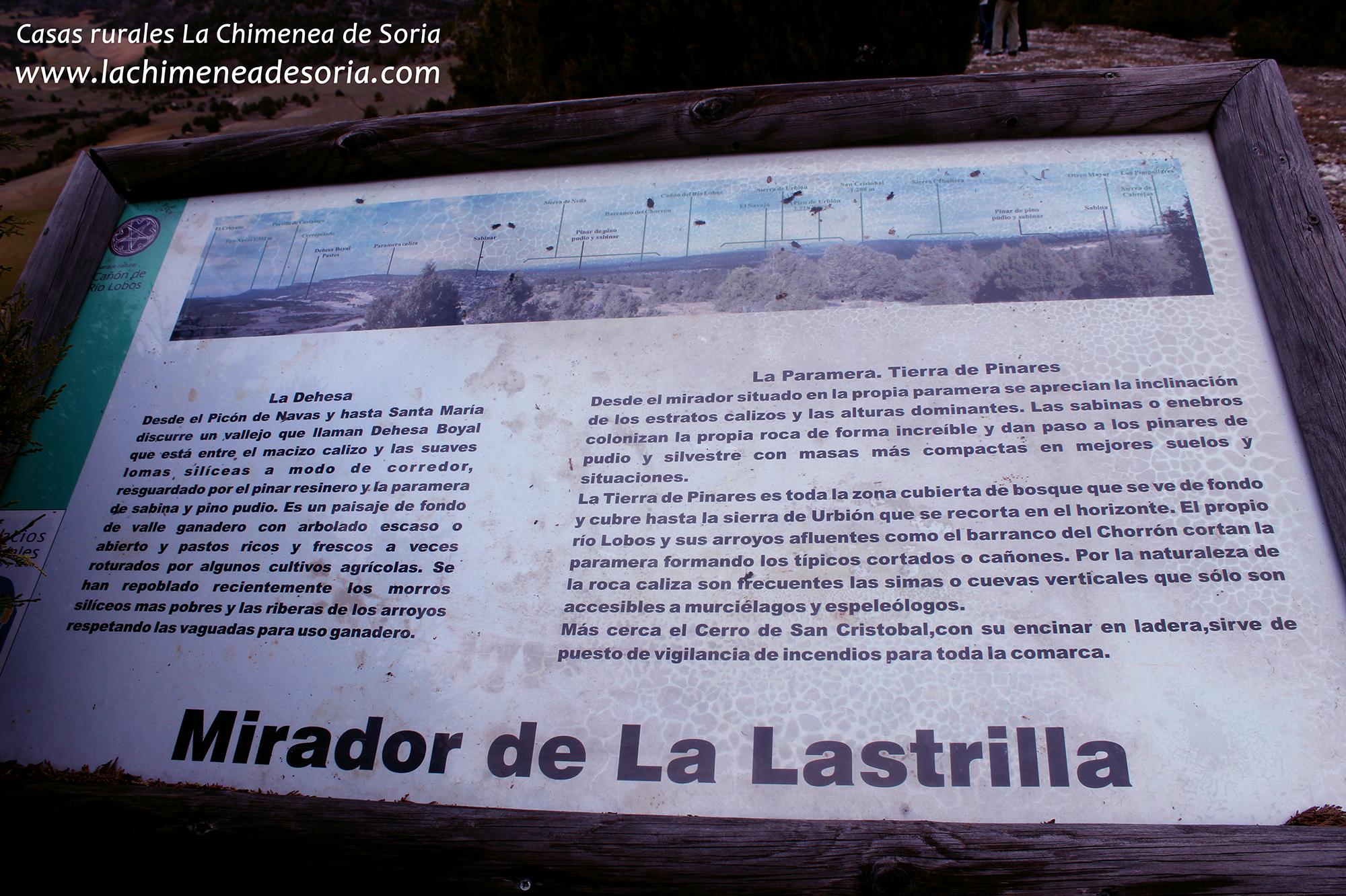 panel mirador la lastrilla cañon rio lobos