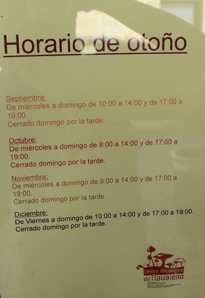 horario otoño centro micologico de navaleno